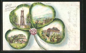 Passepartout-Lithographie Oybin, 4 Ansichten in Kleeblatt