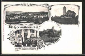 AK Raboldshausen, 3 Ortsansichten in Jugendstil-Rahmen