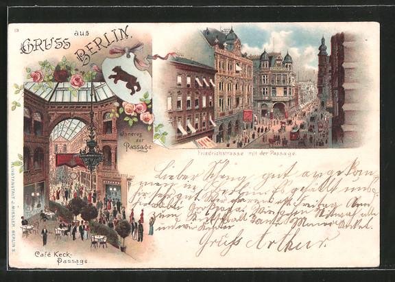 Lithographie Berlin, Cafe Keck-Passage, Inneres der Passage, Friedrichstrasse mit der Passage, Strassenbahn, Wappen