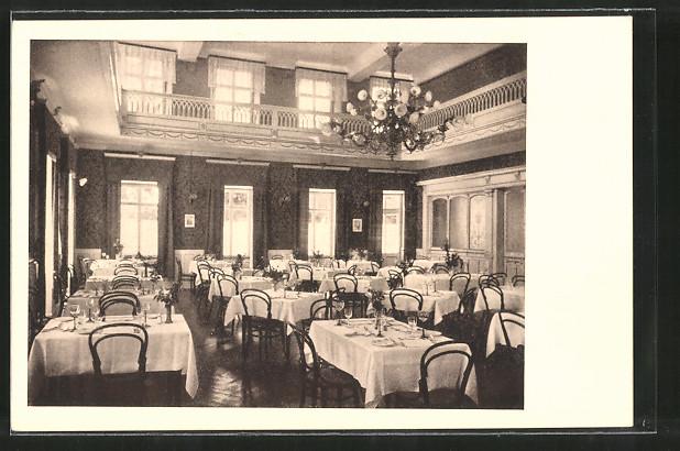 AK Überlingen, Badhotel Überlingen am Bodensee, grosser Speisesaal