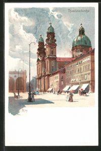 Künstler-AK Heinrich Kley: München, Theatinerkirche