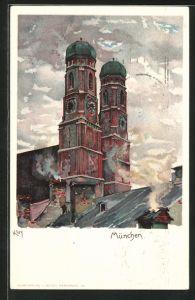Künstler-AK Heinrich Kley: München, Frauenkirche