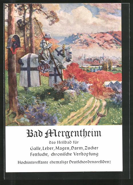 Künstler-AK Bad Mergentheim, Reklame für Tourismus, Ritter zu Pferde, Stadtpanorama