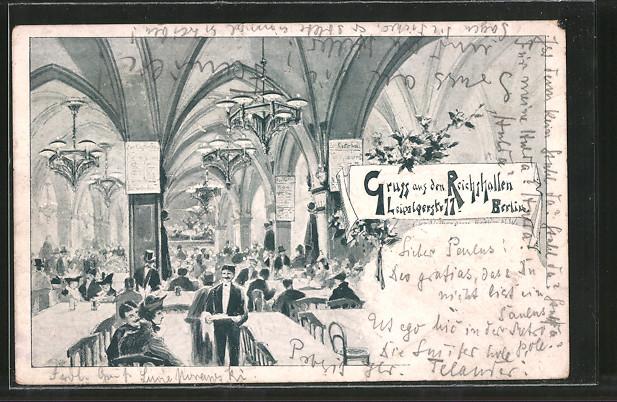 AK Berlin, Gasthaus Reichshallen, Leipzigerstrasse 77