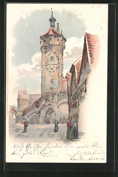 Künstler-AK Otto Hammel: Rothenburg, Strassenpartie am Klingenthor