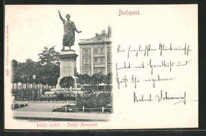 AK Budapest, Petöfi-Monument, Petöfi-szobor