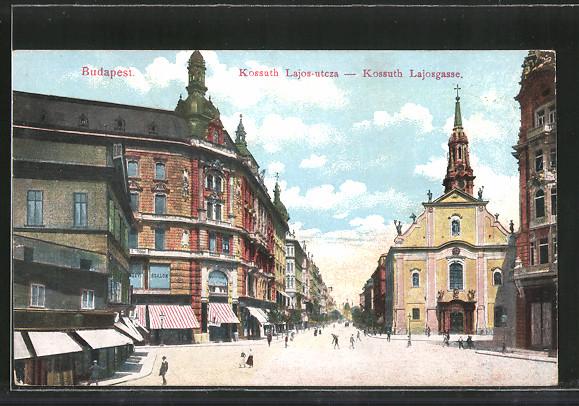 AK Budapest, Kossuth Lajos-utcza, Kossuth Lajosgasse 0