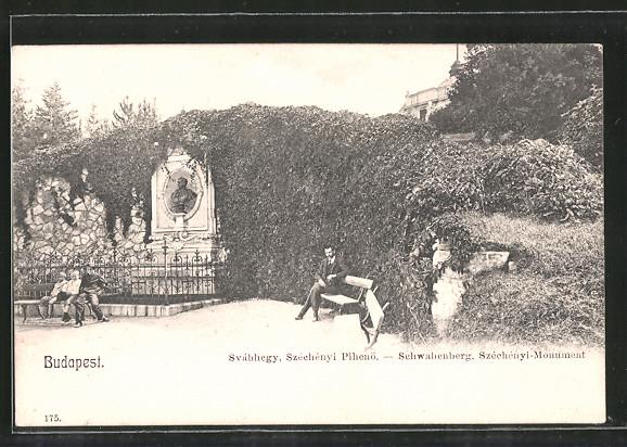 AK Budapest, Svábhegy, Széchényi Pihenö, Schwabenberg, Széchényi-Monument