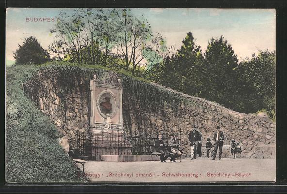 AK Budapest, Széchenyi pihenö, Schwabenberg, Széchényi-Büste