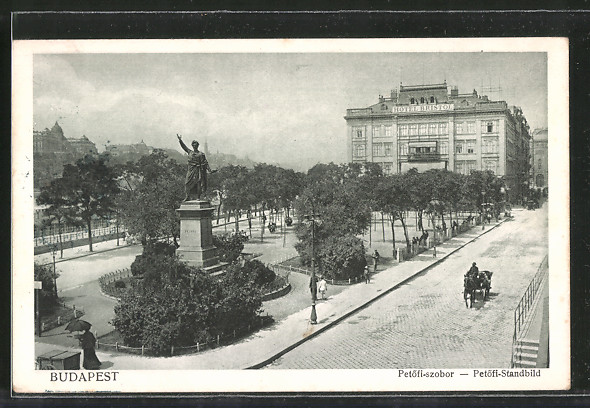 AK Budapest, Petöfi-szobor - Petöfi-Standbild
