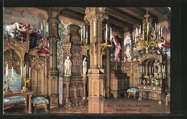 AK königliches Schloss Neuschwanstein, Schlafzimmer II