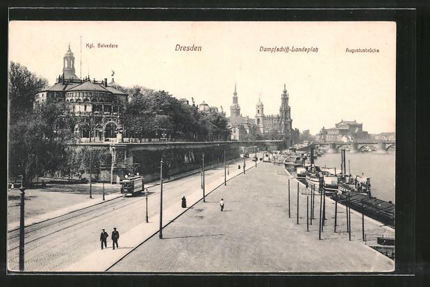 AK Dresden, Dampfschiff-Landeplatz mit Augustusbrücke und Strassenbahn