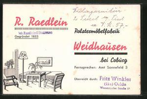 AK Weidhausen, Reklame d. Polstermöbelfabrik R. Raedlein, Inneneinrichtung eines Wohnzimmers
