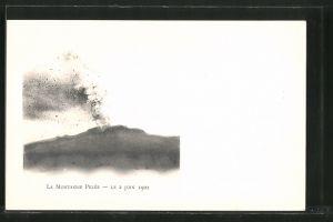 AK Saint-Pierre, Vulkan Mont-Pelée beim Ausbruch am 2.6.1902