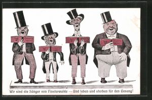 AK Finsterwalde, Sänger des Gesang-Vereins mit Gesangbüchern,