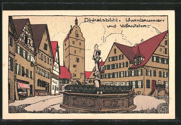 Steindruck-AK Dinkelsbühl, Löwenbrunnen & Wörnitztor