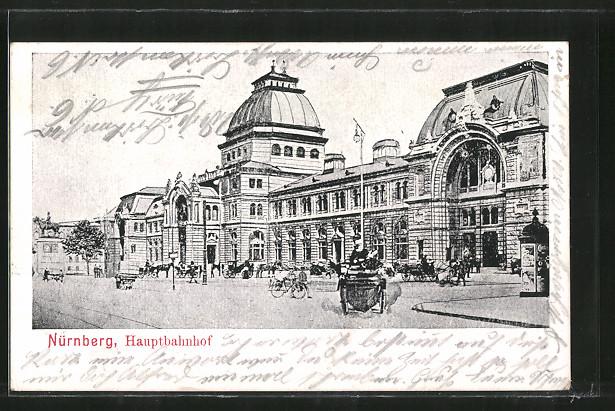 AK Nürnberg, Buntes Treiben vor dem Hauptbahnhof