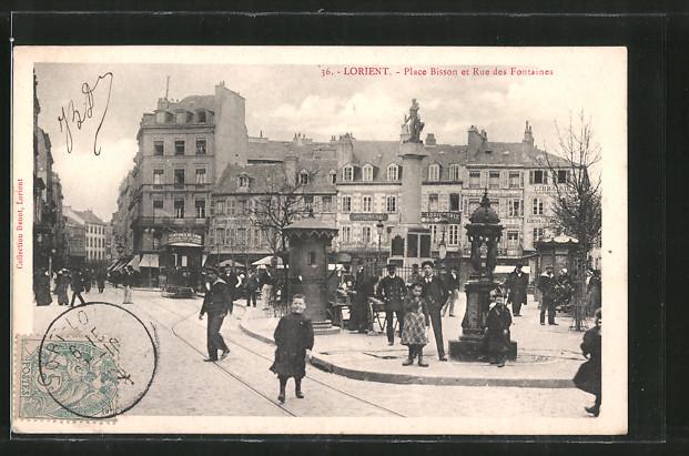 AK Lorient, Place Bisson et Rue des Fontaines, Strassenbahn
