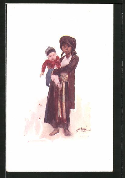 Künstler-AK Tonkin, Enfants tonkinois / Tonkinese children