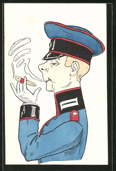 AK Karikatur eines Garde-Offiziers
