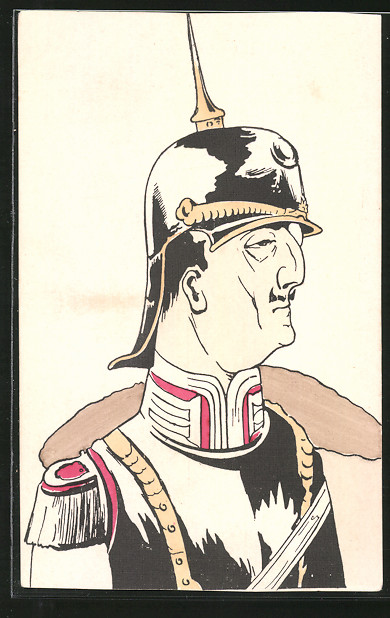 AK Karikatur eines Kavallerieoffiziers