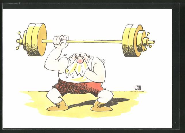 AK Gewichtheber mit Schnupfen, Humor