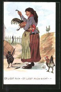 Künstler-AK Er liebt mich - Er liebt mich nicht, Bäuerin zieht Hahn die Federn raus