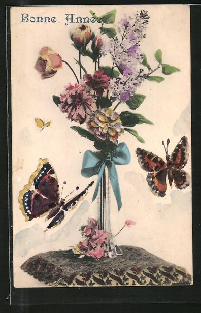 Künstler-AK Handgemalt: Bonne Année, Schmetterlinge und Blumenvase