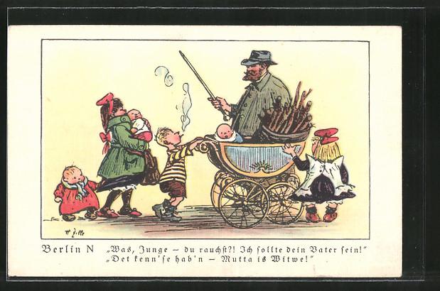 Künstler-AK Heinrich Zille: Was Junge-du rauchst?, Junge schiebt einen Kinderwagen und raucht dabei