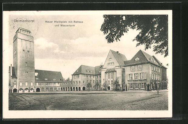 AK Delmenhorst, Neuer Marktplatz mit Rathaus und Wasserturm