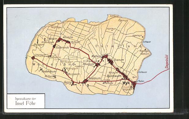 AK Föhr, Landkarte, Spezialkarte der Insel Föhr