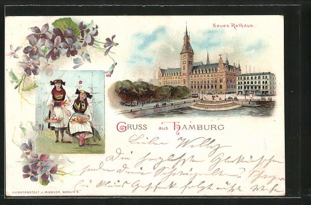 Lithographie Hamburg, Neues Rathaus, Traditionelle Trachten
