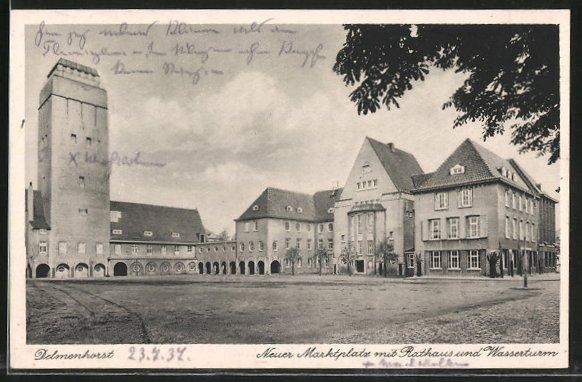 AK Delmenhorst, Neuer Marktplatz mit Rathaus & Wasserturm