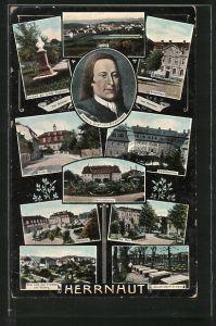 AK Herrnhut, Totalansicht, Brüderhaus, Herrschaftshaus
