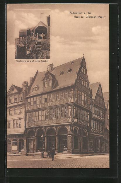 ak alt frankfurt haus zur goldenen wage gartenhaus auf dem dach nr 7106693 oldthing. Black Bedroom Furniture Sets. Home Design Ideas