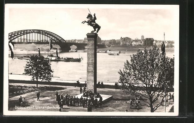 AK Düsseldorf, Partie am Rhein mit Ulanendenkmal