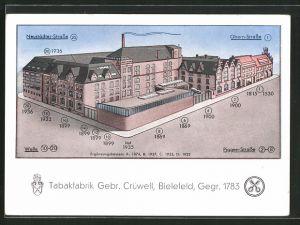 AK Bielefeld, Tabakfabrik Gebr. Crüwell, Neustädter Strasse, Obern Strasse