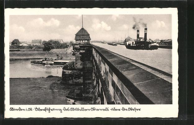 AK Minden, Überführung des Mittellandkanals über die Weser