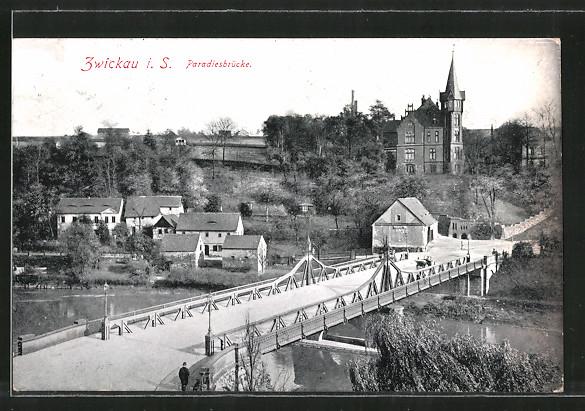 AK Zwickau, Ortsansicht mit Paradiesbrücke
