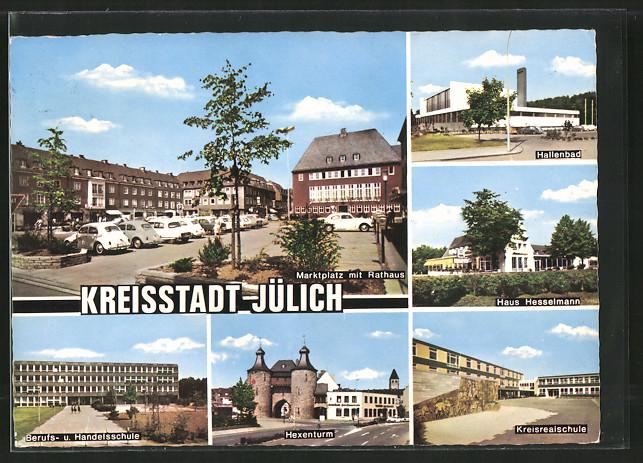 AK Jülich, Marktplatz mit Rathaus, Hallenbad, Hexenturm