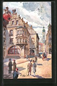 Künstler-AK Richard Wagner: Strassenpartie am Münchner Hofbräuhaus