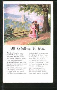AK Heidelberg, Blick vom Waldweg auf die Stadt und Lied