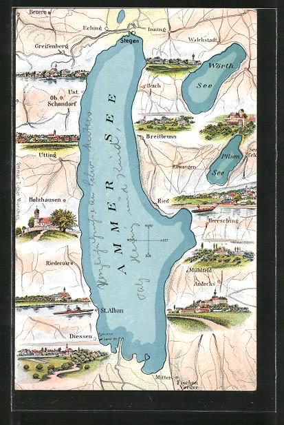 AK Holzhausen, Landkarte mit Umgebung vom Ammer See