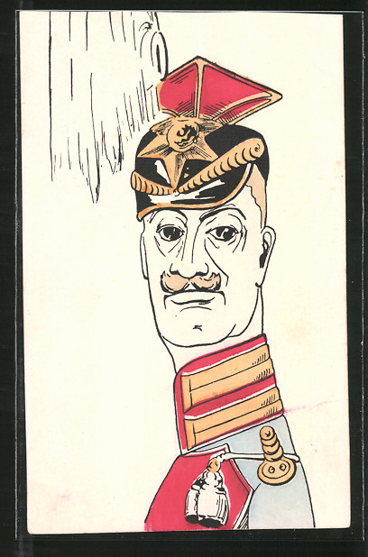 AK Karikatur eines Ulanenoffuziers