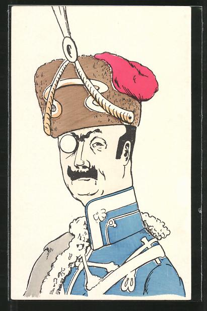 AK Karikatur eines Husaren-Offiziers