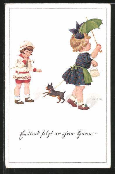 Künstler-AK Franz Jüchtzer: Kinder mit Schirm und Hund