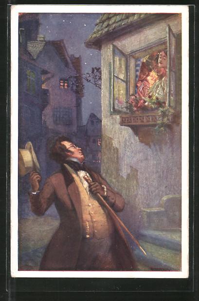 Künstler-AK Adolf Karpellus: Schubert, Das Dreimäderlhaus