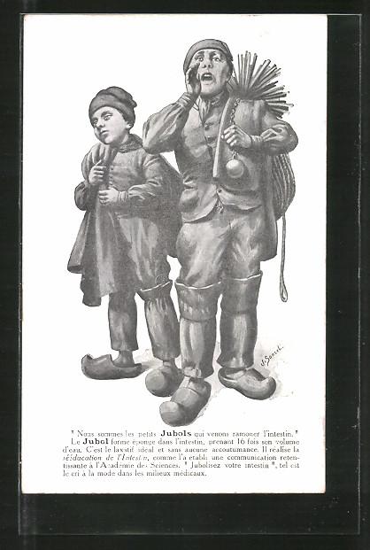 Künstler-AK Nous sommes les petits Jubols..., Schornsteinfeger