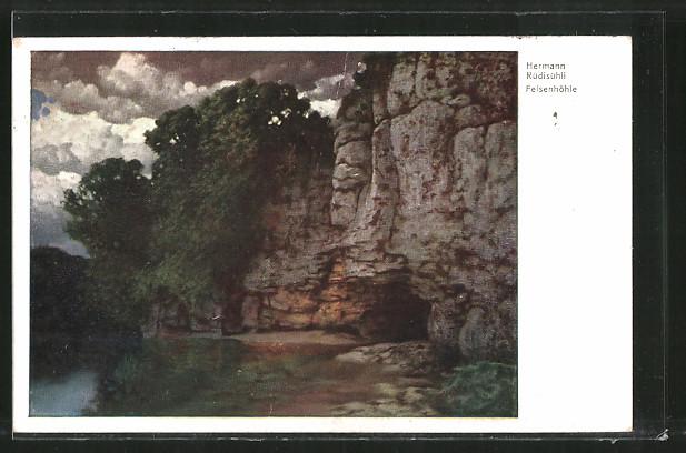 Künstler-AK Hermann Rüdisühli: Felsenhöhle, Landschaft