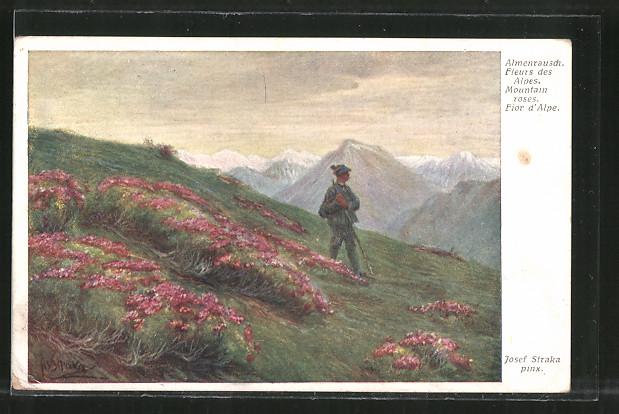 Künstler-AK Josef Straka: Almenrausch, Bergidyll